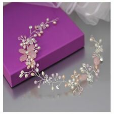 Pink & Ivory Hair Vine Luxe Bridal Accessory Rose Quartz Pearls & Crystals 30cm