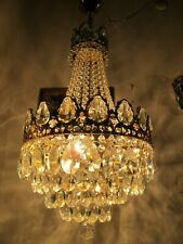 Antique Vnt French  french basket style Crystal Chandelier Lamp 1940s 14in Ø ...