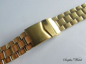 NOS Stainless Steel & Gold Plated 20mm Bracelet Watch Strap L7