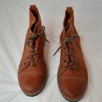 V Italia Tan Leather rustic Lace Up Zip Comfort Boots Women's Size 40/US 9.5-10
