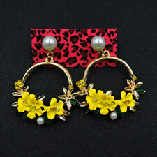 New Fashion Betsey Johnson Rare Alloy Rhinestone Enamel Flower Earrings Jewelry