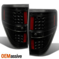 Fit 2009-2014 Ford F150 F-150 Black Smoked LED Tail Lights L+R 2010 2011 2012