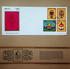 BHUTAN 1983 TANTRIC CEREMONY OFFERINGS 4v ON ILLUSTRATED THIMPHU CANCEL FDC