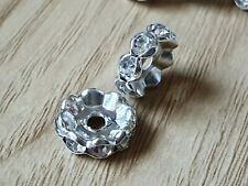 50 CLEAR RHINESTONE WAVY RONDELLE SPACER BEADS 10MM JEWELLERY CRAFTS XMAS