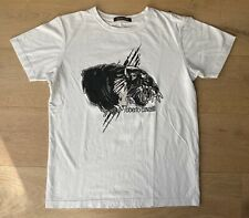 Roberto Cavalli Men's Tiger Graphic Crewneck T-Shirt White Black Size M EUC