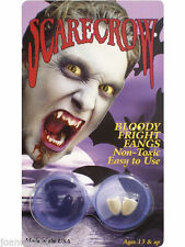 SCARECROW VAMPIRE TOOTHCAP FANGS HALLOWEEN TEETH ADULT / WITH BLOOD CAPSULES