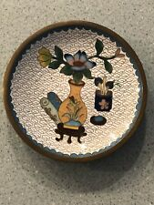 Vtg Chinese Asian Cloisonne Small Dish 4� Floral Vase Design