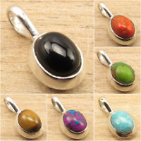 925 Silver Plated Real Gemstones Highly Polished DELICATE Small Pendant