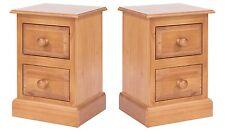 Pair of 2 Drawer Bedside Cabinets Delphi Premium Solid Pine Bedroom Furniture