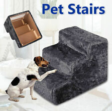 Portable Pet Soft Plush 3 Steps Ladder Dog Cat Stairs Ramp Washable Cover