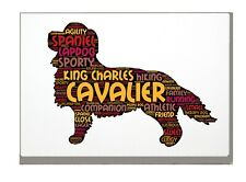 More details for cavalier king charles spaniel word art canvas a4a3a2a1 gift personalised option