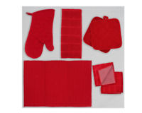 Red Valentines Day Kitchen Linen Set- Towel Pot Holder Oven Mitt Drying Mat 7 pi