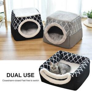 Dog Pet Cat Igloo/Cave Bed House Foldable Warm Kennel Nest Cushion Washable Gray