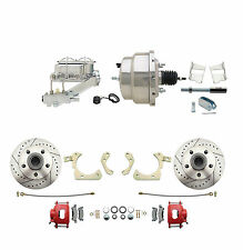 """High Performance D/S Disc Brake Conversion, RED PC Calipers, 8"""" Chrome Pwr Kit"""