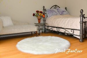 5' Warm White Sheepskin Round Plush Suede Backing Cute Shaggy Furry Nursery Rug