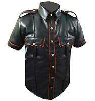 Mens Hot Leather Police Uniform Genuine Real Black BLUF Gay Shirt