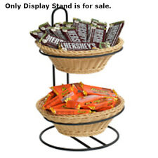 2 Tier Plastic Wicker Baskets Display Stand 11 W x 12 D x 16.5 H Inches