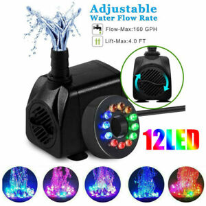 Electric Submersible Water Fountain Pump With 12LED Light Pond Garden Pool