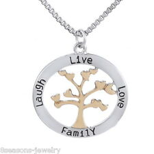 Tree Of Life Pendant Necklace Carved Live Love Family Laugh Letter Jewelry Gift