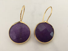 Gold Drop Earrings Purple Gemstone Jade Circle Disc Bronze Turkish Ottoman Stone