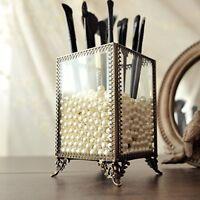 Vintage White Pearls Make up Brush Holder Makeup Organizer Storage Box