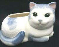 Adorable Vintage Hand painted Grey & White Ceramic Cat Kitten Planter Green Eyes