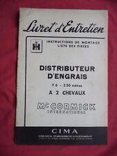 livret d'entretien Mc CORMICK INTERNATIONAL DISTRIBUTEUR D'ENGRAIS F6 2 CHEVAUX