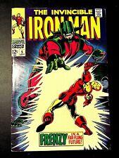 IRON MAN 5 (Marvel 9/68 5.0 non-CGC) NR! 12c SILVER-AGE 60s CLASSIC! CEREBRUS!