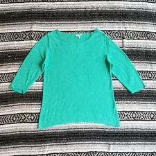 Eileen Fisher Sz L 3/4 Sleeve Wide Neck Knit Linen Pullover Sweater Turquoise