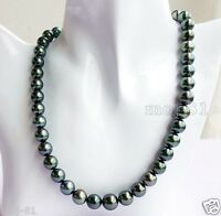 """Fashion Women's Natural 10mm Black Akoya Cultured Shell Pearl Necklace 18"""" AAA"""