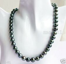 "Fashion Natural 10mm Black Akoya Cultured Shell Pearl Necklace 18"" AAA"