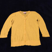 ANN TAYLOR LOFT - Yellow Knit Sweater Cardigan - Button Knit 3/4 Sleeve - Size S