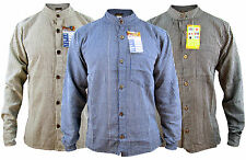 Men's Grandad Striped Collarless Cotton Long Sleeve Full Button Nepalese Shirts