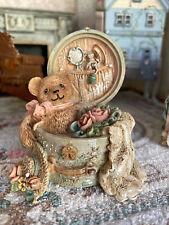 Vintage Artisan Miniature Dollhouse Resin Teddy Bear in Hat Box Feminine Decor