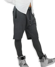 Men's Layered Urban Shorts Legging Faux Leather Trim Hip Hop Street Dance XL