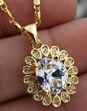 18K Yellow Gold Filled - 8*10MM Oval White Topaz Flower Wedding Pendant Necklace