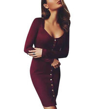 Fashion Women Long Sleeve Slim Bodycon Casual Party Evening Cocktail Mini Dress