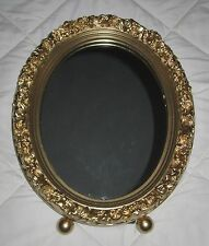 Gilt Gold Hollywood Regency Decorative Oval Framed Wall or Table Vanity Mirror