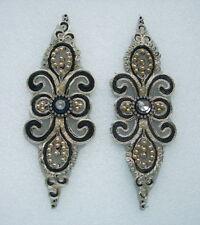 VF262 Gemstones Metallic Trimming Epaulette Applique Motif Sew On Fashion 2pcs