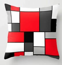 "Society6 Red Black & Grey Squares Throw Pillow Cover 18""x18"" with Pillow Insert"