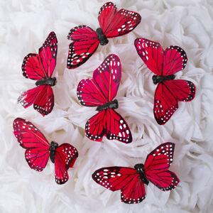 "2.75"" Artificial Decorative RED Feather Butterflies - 12pcs Butterfly Craft"