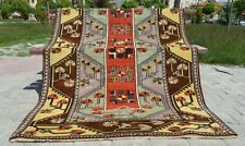 Lovely c1950-1960s Vintage 4x7ft Muted Dyes Wool Pile  Milas Rug