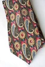 NEW Mens Silk Tie Necktie Green Gold Pink Blue Paisley by Bill Blass #1161