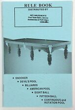 Pool Snooker Billiards Eight Ball Devils Pool American Pool Table RULE BOOK