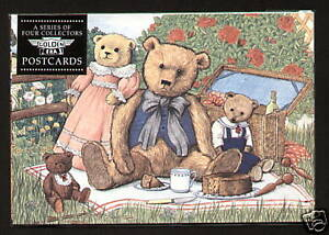 TEDDY BEAR FAMILIES POSTCARDS Set of 4 - Steiff Cattley Bruin Merrythought Aetna