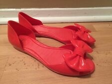 MEL FRESH IV WOMENS CORAL PINK BOW JELLY  FLAT SHOES 9 new