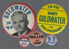1964 BARRY GOLDWATER & B. MILLER POLITICAL CAMPAIGN BUTTON GROUP E