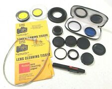 Camera accessory lot - lens covers, filters, cleaning wipes, brush Canon Vivitar