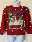 Jingle Bells Red Ugly Christmas Sweater Bonnie and Bill by Holly Womens SZ Large