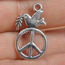 20pcs Tibetan Silver Peace Dove necklace pendant Olive Branch Pendants  A3557